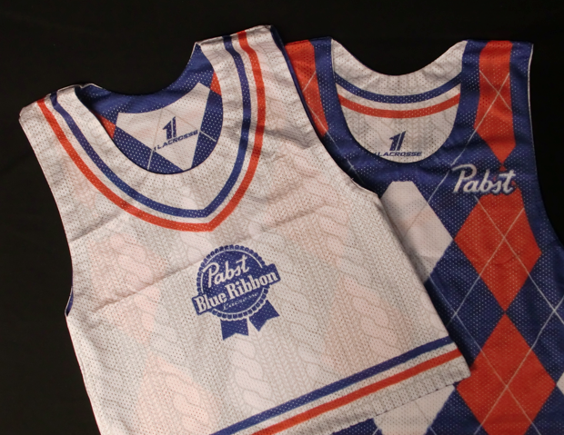 Pabst Blue Ribbon Cable Knit Sweater Vest And Khaki Uniforms