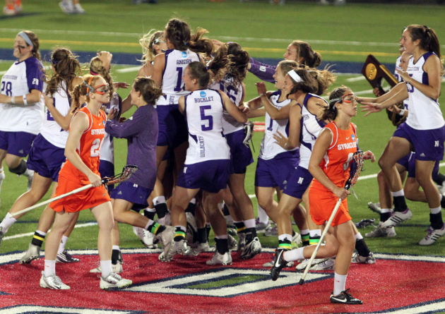 May 27, 2012; Stony Brook NY, USA; Northwestern Wildcats celebrates the win against the Syracuse Orange in the 2012 NCAA Division 1 Womens Lacrosse Championship at LaValle Stadium. Northwestern won 8-6. Mandatory Credit: Anthony Gruppuso-US PRESSWIRE