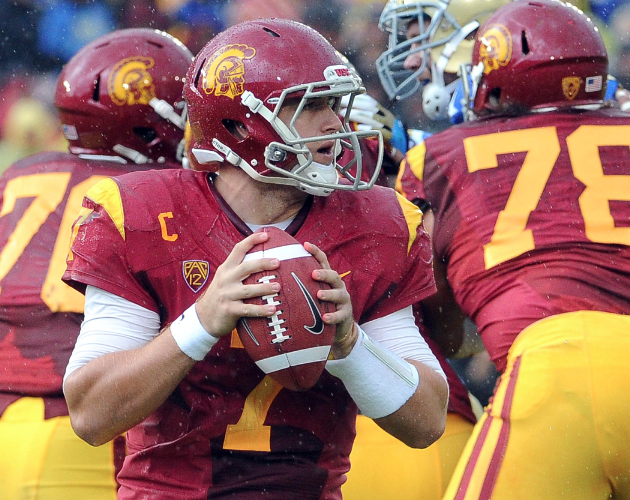 November 17, 2012; Pasadena, CA, USA; Southern California Trojans quarterback Matt Barkley (7) looks to pass in the third quarter of the game against the UCLA Bruins at the Rose Bowl. UCLA won 38-28. Mandatory Credit: Jayne Kamin-Oncea-USA TODAY Sports