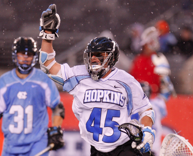 Apr 1, 2012; East Rutherford, NJ, USA; John Hopkins Blue Jays attack Zach Palmer (45) celebrates goal against the North Carolina Tar Heels at the Big City Classic at MetLife Stadium. North Carolina Tar Heels defeat the John Hopkins Blue Jays 13-9. Mandatory Credit: Jim O'Connor-USA TODAY Sports