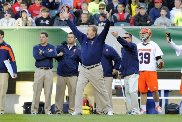 May 25, 2013; Philadelphia, PA, USA; Syracuse Orange head coach John Desko reacts to an officials call against the Denver Pioneers during the fourth quarter of the 2013 NCAA Division I Men's Lacrosse Semifinals at Lincoln Financial Field. Syracuse won the game 9-8. Mandatory Credit: Rich Barnes-USA TODAY Sports