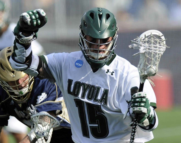 May 26, 2012; Boston, MA, USA; Loyola Maryland Greyhounds attack Justin Ward (15) runs to the goal during the second half of the NCAA Division I semifinals against the Notre Dame Fighting Irish at Gillette Stadium. Mandatory Credit: Bob DeChiara-USA TODAY Sports
